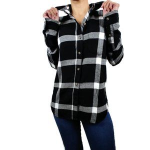 So Black/Gray/White Plaid Perfect Shirt. XS